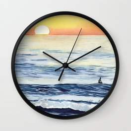 Watching the Sunset Surf-Art Painting Wall Clock