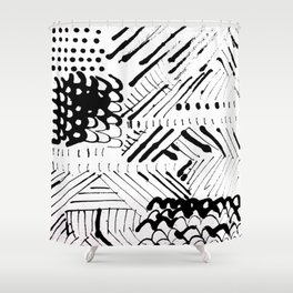 Black and White Ink Abstract Mark Making Pattern Shower Curtain