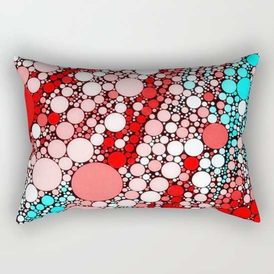 Bubble shower,red,aqua Rectangular Pillow