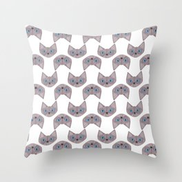 Grey Cat Head with Blue Eyes Throw Pillow