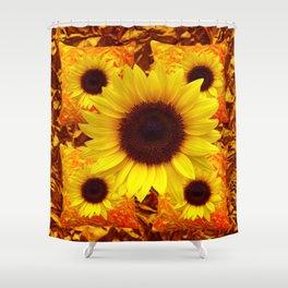 FIVE YELLOW SUNFLOWERS ON GOLDEN ART Shower Curtain
