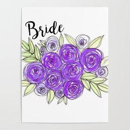 Bride Wedding Bridal Purple Violet Lavender Roses Watercolor Poster