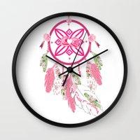shabby chic Wall Clocks featuring Shabby Chic Dream Catcher by KarenHarveyCox