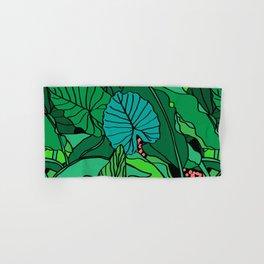 Jungle Leaves Illustrated in Black Hand & Bath Towel