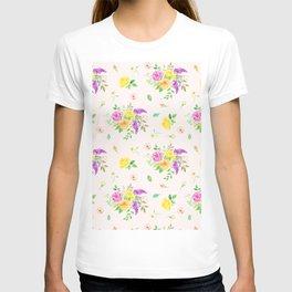 Watercolor Rose Pattern T-shirt