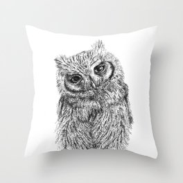 Stippled Screech Owl Throw Pillow