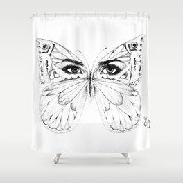 woman butterfly  black and white Shower Curtain