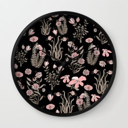 Pink Flowers at night Wall Clock