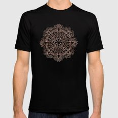 Mandala Rose Gold Pink Shimmer on Soft Gray by Nature Magick 2X-LARGE Black Mens Fitted Tee