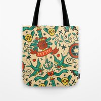 tattoos Tote Bags featuring Tattoos by Illuminany