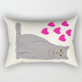Purrfect grey cat cute kitten valentine gift for cat lady love kids art heart valentines day pets Rectangular Pillow