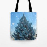 christmas tree Tote Bags featuring Christmas tree  by Svetlana Korneliuk