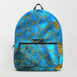 Blue Aqua Turquoise And Gold Glitter Mermaid Scales -Beautiful Mermaidscales Pattern Backpack