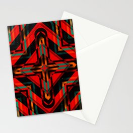Rhombuses with cross (red-green-black) Stationery Cards
