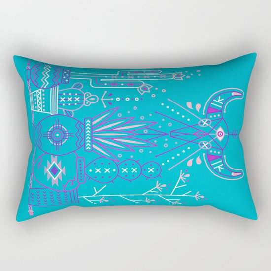 Santa Fe Garden – Blue & Purple Rectangular Pillow