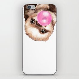 Baby Sloth Playing Bubble Gum iPhone Skin