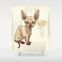 sphynx Shower Curtains featuring Angry Sphynx by Henri Scribner