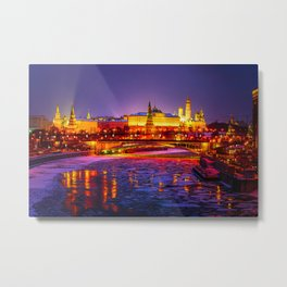 Moscow Kremlin And The Moscow River In The Winter Night Metal Print