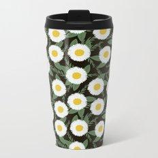 Daisies botanical floral print minimal flowers basic florals pattern charlotte winter dark Metal Travel Mug