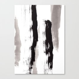 Live Your Color no.89 - black and white modern minimalist abstract brushstroke painting Canvas Print