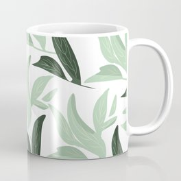 Abstract modern green pastel color leaves floral Coffee Mug