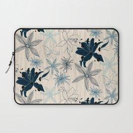 Dark wood grain flowers Laptop Sleeve