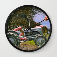pigs Wall Clocks featuring Freedom Pigs by Jelly Roger
