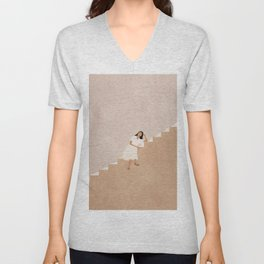 Girl Thinking on a Stairway Unisex V-Neck