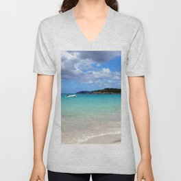 Watercolor Landscape Cinnamon Bay Beach 02, This is the Life! Unisex V-Neck