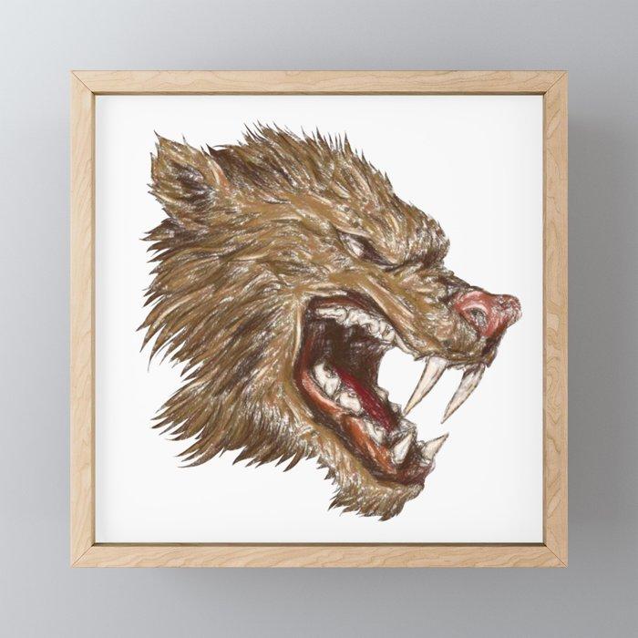 Head with sharp teeth Framed Mini Art Print