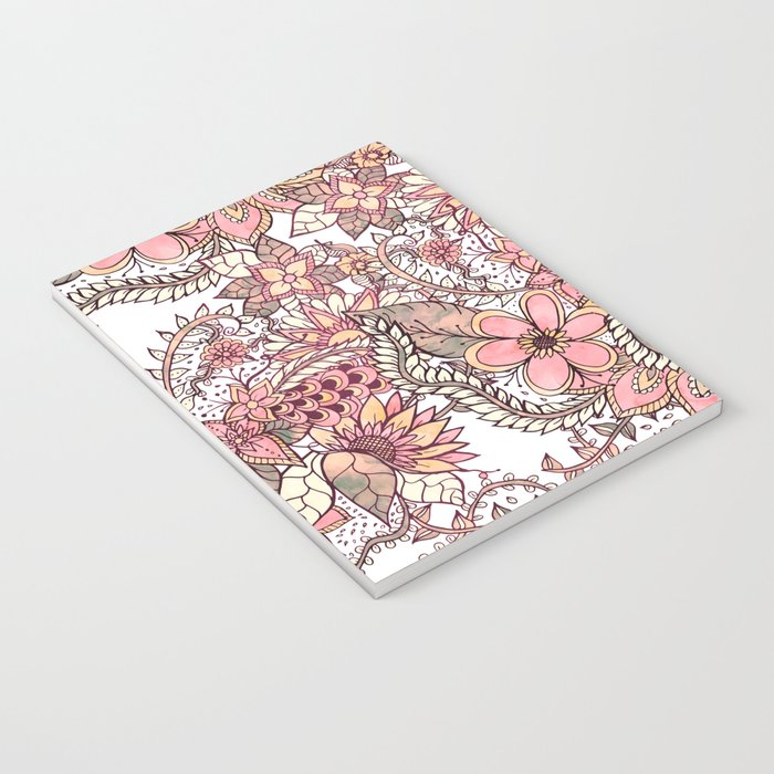 Boho chic red brown floral hand drawn pattern Notebook