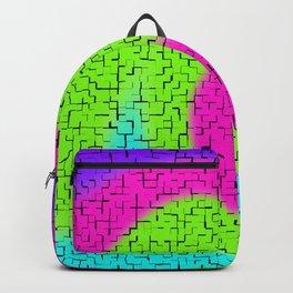 Tile Twirl Digital Illustration - Lime Green Wave Swirl - Graphic Design Backpack
