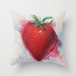 Watercolor Strawberry Throw Pillow