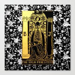 Floral Tarot Print - The High Priestess Canvas Print