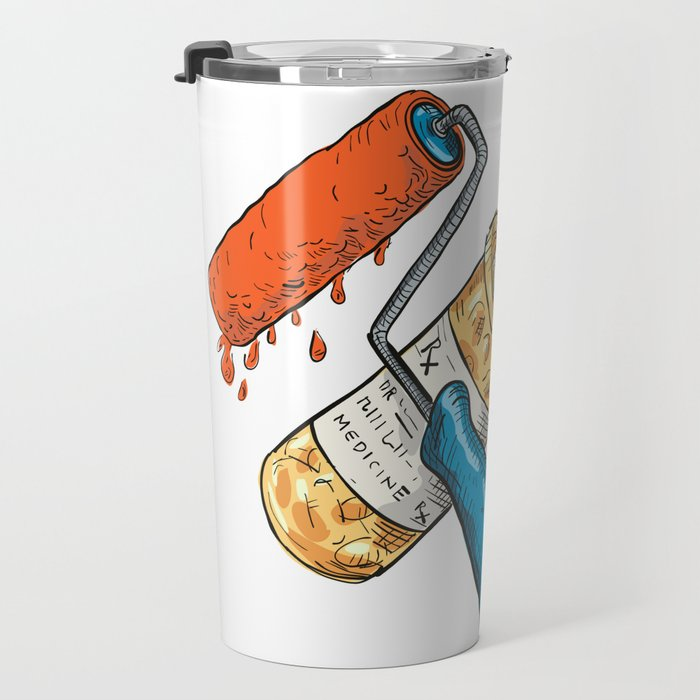 Paint Roller Medicine Capsule Bottle Drawing Color Travel Mug