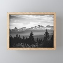 Morning in the Mountains Black and White Framed Mini Art Print