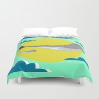 the whale Duvet Covers featuring WHALE by mark ashkenazi