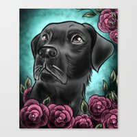 lab Canvas Prints featuring Black Lab... by Lily Fitch