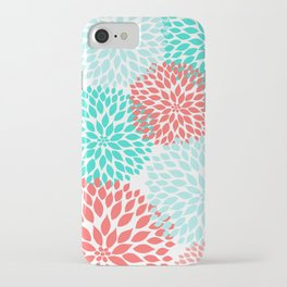 Coral Teal Dahlia Bouquet iPhone Case
