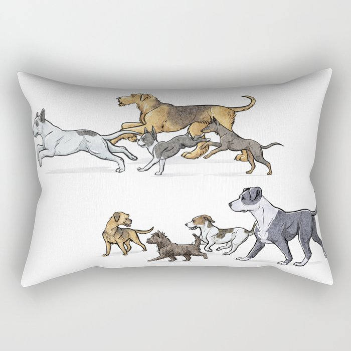 Trotting Terriers Rectangular Pillow