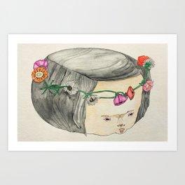 Flower Crown Frown Art Print