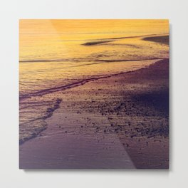 Golden Sunset at Beach Metal Print