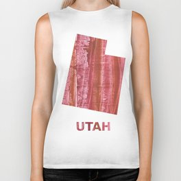 Utah map outline Indian red stained wash drawing Biker Tank