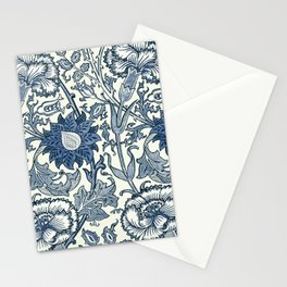 William Morris Navy Blue Botanical Pattern 5 Stationery Cards