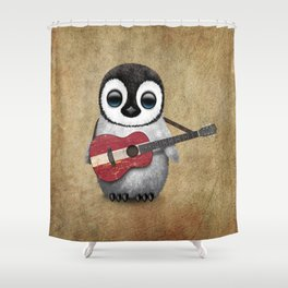 Baby Penguin Playing Latvian Flag Acoustic Guitar Shower Curtain