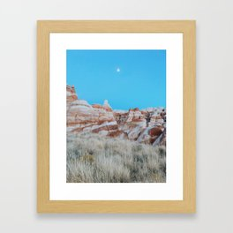 Moon Over Marbled Rock Formation Framed Art Print