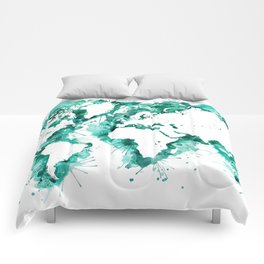 Watercolor splatters world map in teal Comforters