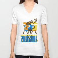 super heroes V-neck T-shirts featuring zilasaule. super-heroes by Ilja Donets