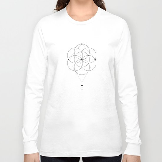 Seed Of Life Geometry White Long Sleeve T-shirt