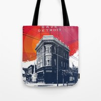 detroit Tote Bags featuring Save Detroit by The Mighty Mitten - Great Lakes Art
